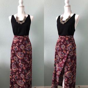 Charlotte Russe floral high slit maxi skirt